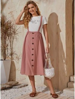 Maternity Button Front Plaid Suspender Skirt