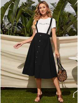 Maternity Button Front Pinafore Skirt