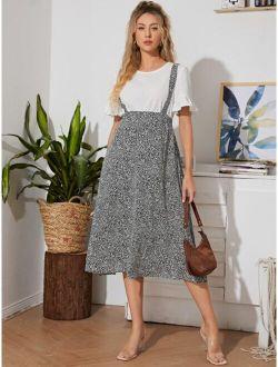 Maternity Ditsy Floral Suspender Skirt