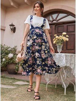 Maternity Floral Suspender Skirt Without Top