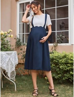 Maternity Scallop Trim Suspender Skirt Without Top