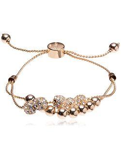 Womens Double Row Round Bead And Fireball Slider Bracelet