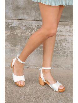 Sansa White Ankle Strap Platform Sandals