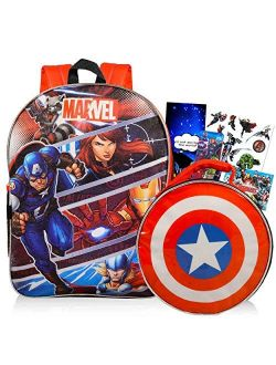 """Avengers Backpack And Lunch Box For Kids Bundle ~ Deluxe 16"""" Backpack And Insulated Lunch Bag With Stickers, And More (avengers School Supplies)"""