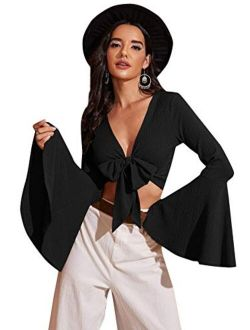 Women's Long Bell Sleeve V Neck Tie Front Rib Knit Crop Top Blouse