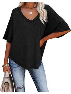 REVETRO Womens Casual V Neck T Shirts Half Sleeve Loose Waffle Knit Tunic Tops Batwing Sleeve Blouses