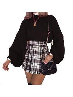 Women's Loose Drop Shoulder Lantern Sleeve Round Neck Fashion Pullover Sweater Tops