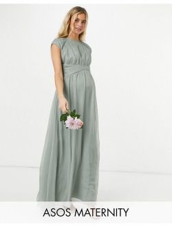 ASOS DESIGN Maternity Bridesmaid ruched bodice maxi dress with cap sleeve detail in olive