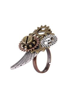 GemCave 6 Style Steampunk Women/Men Ring Retro Multi-Ring Clock Gears Ring Antique Collection/Souvenirs Adjustable Size (Style 1)