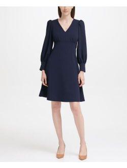 Puff-Sleeve A-Line Dress