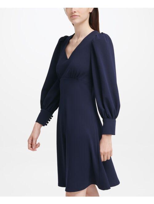 Calvin Klein Puff-Sleeve A-Line Dress