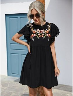 Floral Embroidered Butterfly Sleeve Dress