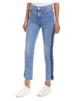 HUDSON Women's Zoeey Hig Rise Lace Up Straight Crop Jean