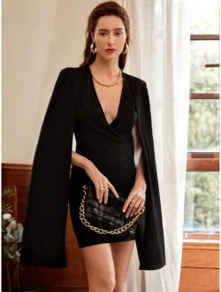 Plunging Solid Cape Dress