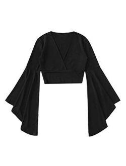 Women's V Neck Long Bell Sleeve Wrap Blouse Top Tee Shirts