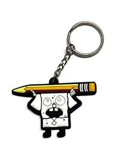 SpongeBob SquarePants Doodlebob Cartoon PVC Meme Rubber Keychain Key Ring