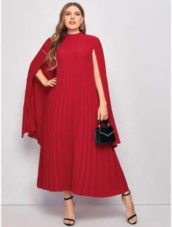 Plus Pleated Solid Cape Dress