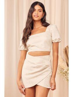 Elegant Affairs Cream Jacquard Puff Sleeve Two-Piece Mini Dress