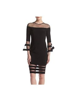 Women's Bell Sleeve Illusion Mesh Cocktail Dress