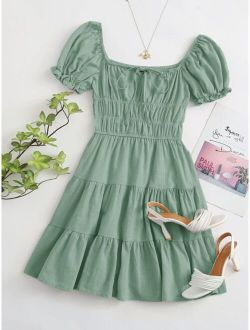 Tie Neck Ruched Bust Tiered Dress