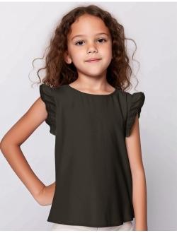Arshiner Little Girls Plain Flutter T Shirts Basic Ruffle Sleeve Tank Tops Blouse Tee