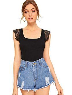 Women's Solid Scoop Neck Lace Cap Sleeve Slim Fit T-shirt Tops