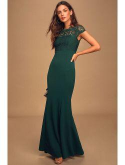 Hopeful Romantic Hunter Green Lace Mermaid Maxi Dress