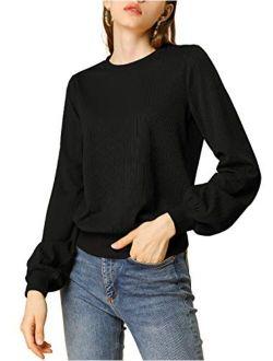 Women's Lantern Sleeve Tops Crewneck Winter Retro Ribbed Pullover Sweater