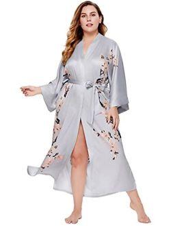 BABEYOND Plus Size Long Kimono Robe Floral Satin Robes Plus Size Kimono Cover Up Loose Cardigan Top Bachelorette Party Robe