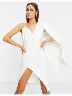 Lavish Alice one shoulder cape midi pencil dress with thigh slit in white