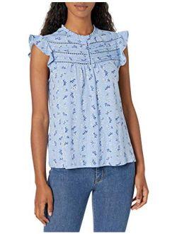 Women's Flutter Sleeve High Neck Printed Top