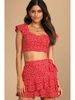 Flourishing Moments Red Floral Print Tie-Back Crop Top