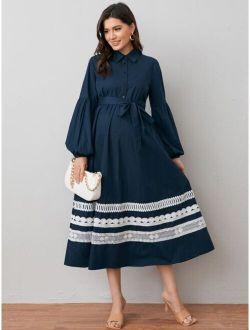 Maternity Contrast Lace Trim Lantern Sleeve Self Belted Shirt Dress