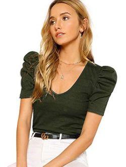 Women's Elegant Short Puff Sleeve Rib Knit V-neck Basic T-shirt Crop Tops