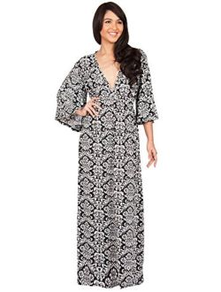 Womens Long Kimono Sleeve Printed V-neck Floral Casual Gown Maxi Dress