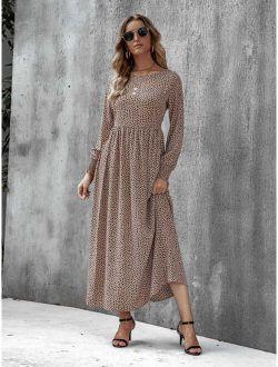 Dalmatian Print Shirred Cuff Maxi Dress