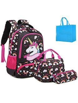 Girls School Backpacks with Lunch Box Unicorn Backpack School bag 3 in 1 Bookbag Set for Elementary