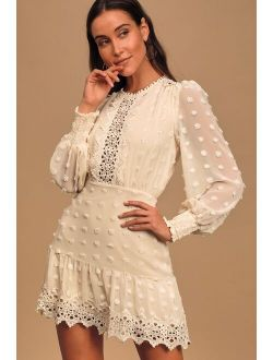 Lust or Love Cream Embroidered Lace Long Sleeve Dress