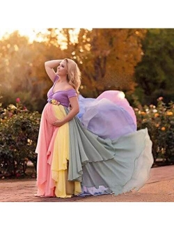 Dress Rainbow Pregnant Evening Dress Props Newborn Women Dress High Waist