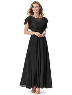 kidadndy Chiffon Bridesmaid Dresses Long A-line Ruffle Formal Prom Wedding for Women with Pockets
