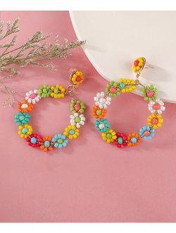 Don't AsK Yellow & Red Multicolor Beaded Flower Hoop Drop Earrings