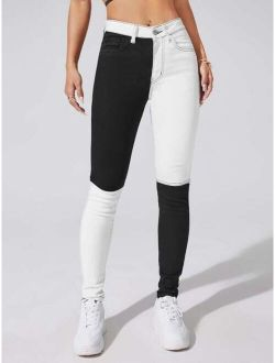 Color Block High Stretch Skinny Jeans
