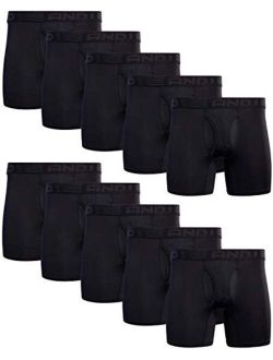 Men's Underwear - Performance Compression Boxer Briefs With Functional Fly (10 Pack)