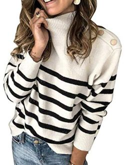 Asvivid Womens Striped High Neck Ribbed Knit Sweater Button Long Sleeve Pullover Jumper Tops