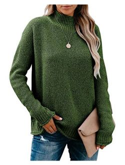Saodimallsu Womens Turtleneck Oversized Sweaters Chunky Long Sleeve Loose Casual Pullover Slouchy Knit Jumper Tops