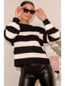 Cozy and Classic Black Striped Knit Sweater