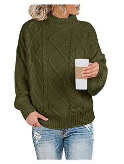Maroway Womens Turtleneck Sweaters Cable Knit Chunky Pullovers Casual Long Sleeve Loose Jumper Tops