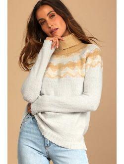Warm Harvest Heather Grey Multi Print Knit Sweater