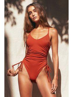 Sunny Side Rust Orange Ribbed One-Piece Swimsuit