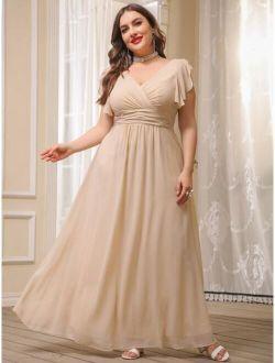 Plus Flutter Sleeve Chiffon Dress